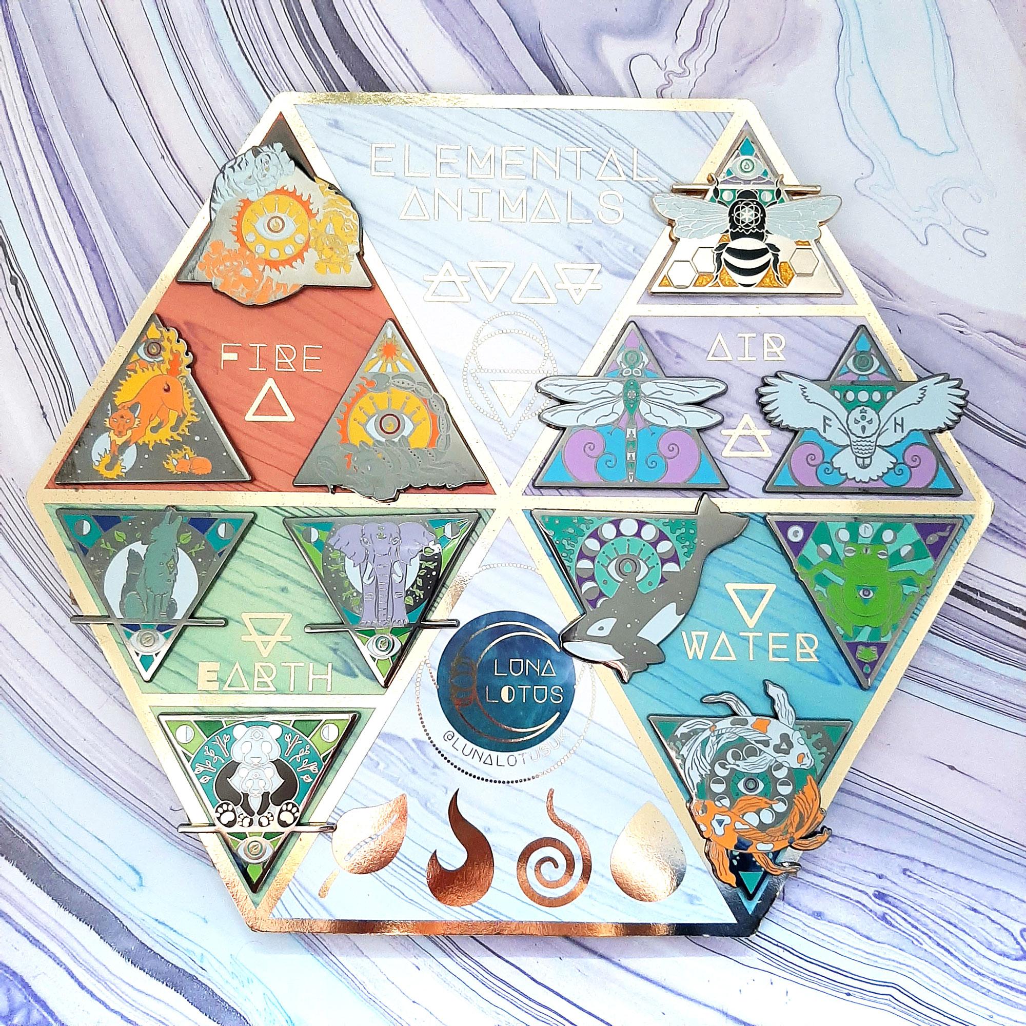 elemental animals enamel pin collection