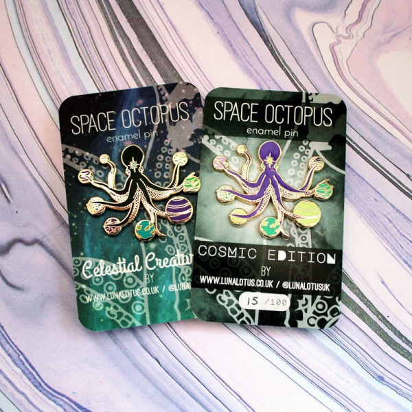 Space Octopus Pin Re release