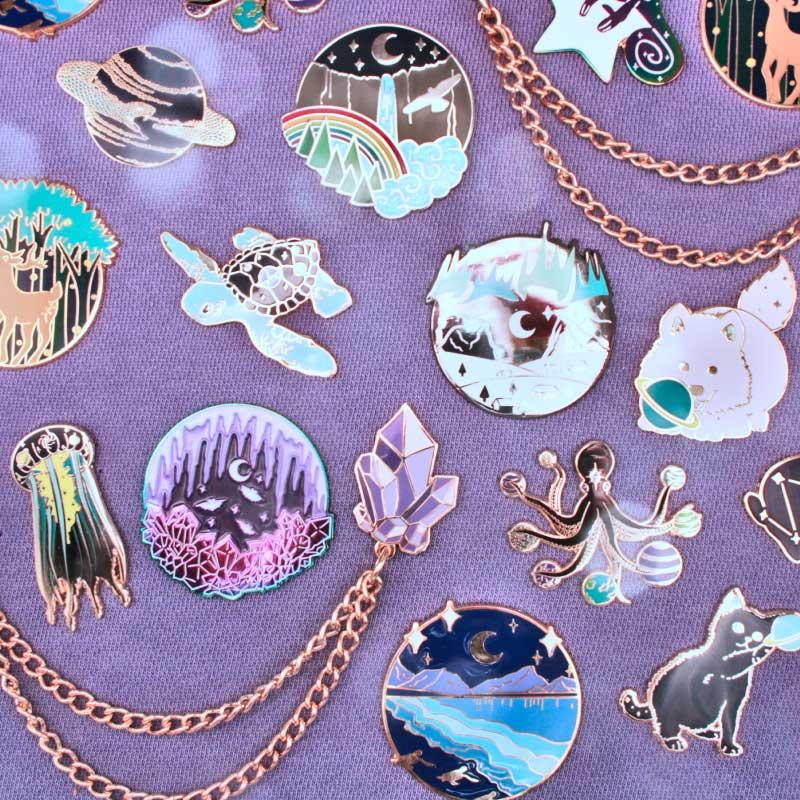 Luna Lotus Enamel Pin Collection