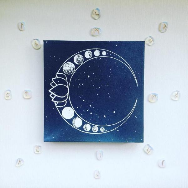 Luna Lotus Canvas Art Screen Print