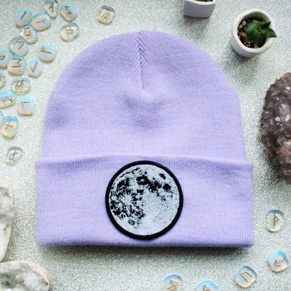 Glow in the dark moon beanie hat