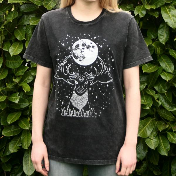 Deer Moon Goddess T-Shirt Organic Cotton Black Acid Wash