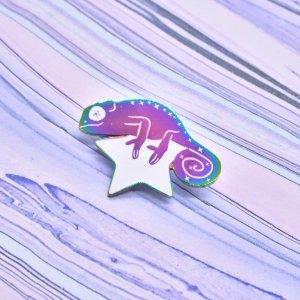 Cosmic Chameleon Rainbow Enamel Pin Space