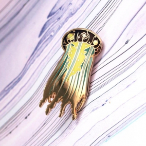 Galactic Jellyfish Hard Enamel Pin Space Void Fish