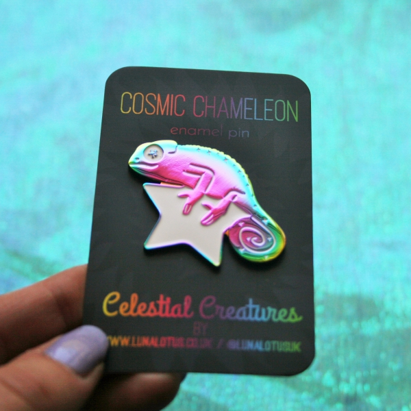 Cosmic Chameleon Rainbow Plated Enamel Pin