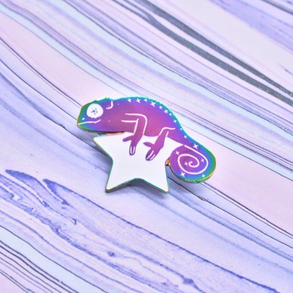 Cosmic Chameleon Rainbow Enamel Pin Space