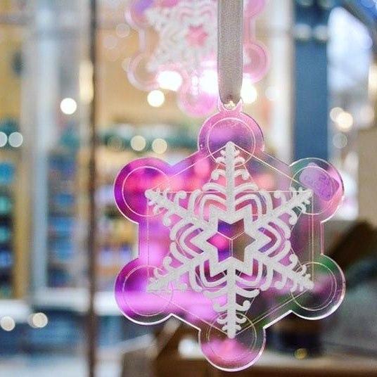 snowflake iridescent christmas decoration