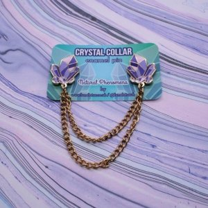 Crystal Collar Enamel Pin Chain