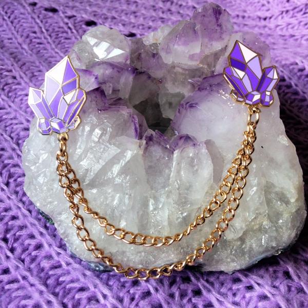Crystal Cluster Amethyst Enamel Chain Pins