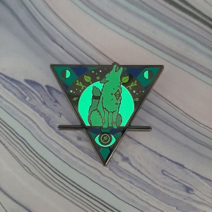Wolf Moon Earth Elemental Pin