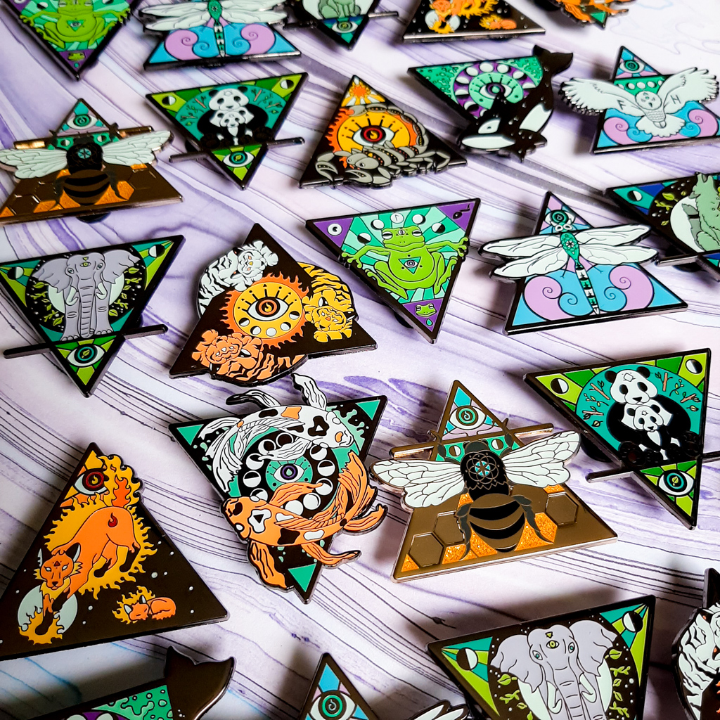 Luna Lotus Elemental Animals Enamel Pin Collection